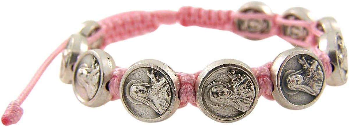 Needzo St Therese of Lisieux Pink Cord Catholic Bracelet
