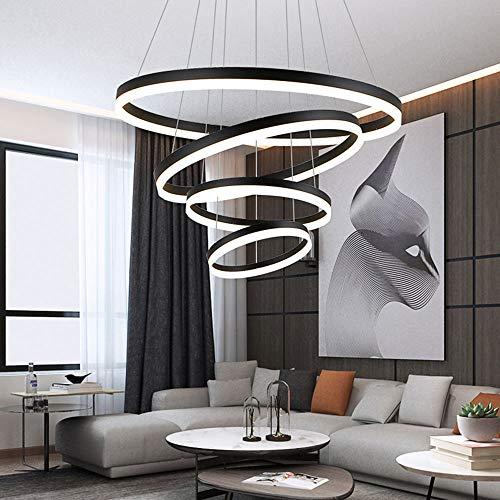127W LED Kronleuchter 4-Ring Dimmbar Pendel-Leuchten Schwarz Aluminium Rund Hängeleuchte Esstisch Galerie Wendel-Treppe Deckenleuchte Esszimmerleuchte,20+40+60+80CM