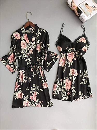 XFLOWR Verse Bloemen Satins Zijde Badjassen Vrouwen Kimono Robes Dressing Jurk Delicate Roze Bloemen Vrouwen Thuis Robes