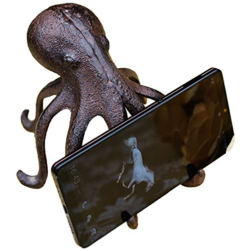 LBYLYH Home Garden Decor Ornament Gift Cast Iron Flying Pig Octopus Mobile Phone Holder Business Card Holder Decorative Card Display Stand Ornaments