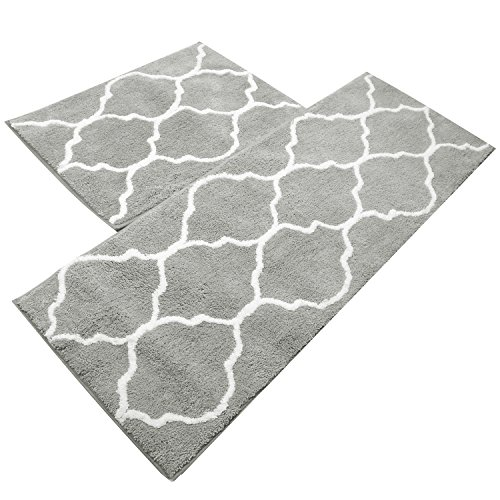 Kitchen Mat, U'Artlines Decorative Non-Slip Microfiber Doormat Bathroom Mats Shower Rugs for Living Room Floor Mats Set (17.7x25.6+17.7x47.2, Gray)