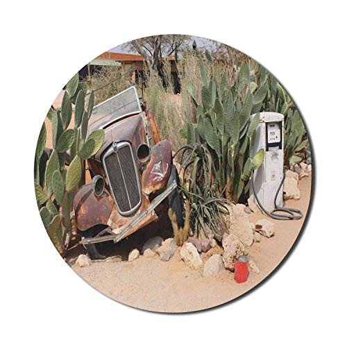 Vintage Car Mouse Pad,Old Broken Car and Desert Plants Gasoline Station Vintage Rusty Vehicle Photo,Round Modern Mousepad,Brown Green