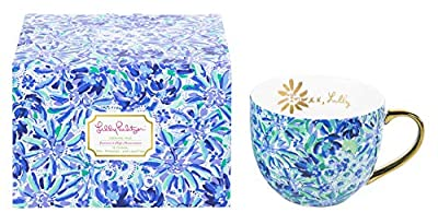Lilly Pulitzer 12 Ounce Blue Ceramic Coffee/Tea Mug with Gold Handle and Gift Box, High Manetenance