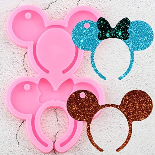 SKJH 6 Style Shiny Mouse Stirnband geformte Schlüsselbundform DIY Epoxy SilikonharzformenAnhänger Herstellung von Polymer Clay Formen