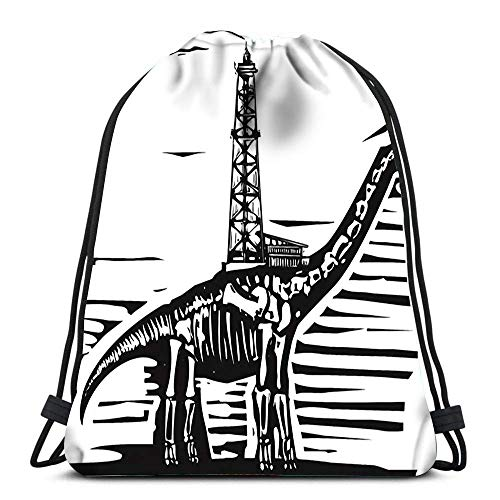 JDHFJ Borsa Morbida Durable Drawstring Backpack Woodcut Style of Fossil Brontosaurus Apatosaurus Dinosaur with an Oil Well On Its Back for Carrying Around