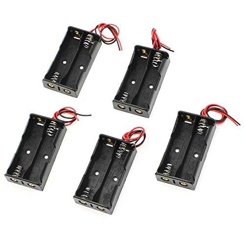 Tenflyer 5PCS Support de Batteries AA 2x1.5V Bloc Coupleur Boîte de Rangement Batterie Pile Avec Câble 9V Plastique Noir
