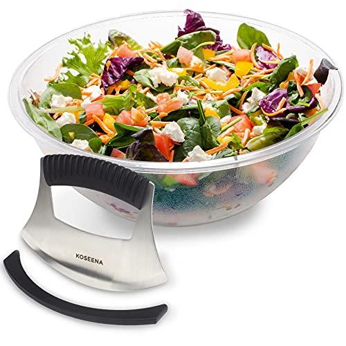 Koseena,Salad Chopper and Bowl, 12 Inches x 5 Inches, Durable Bowl,Sharp Blade Cuts Hard Veggies,Chopped Salad Bowl and Chopper,Salad Cutter, Salad Maker, Lettuce Chopper