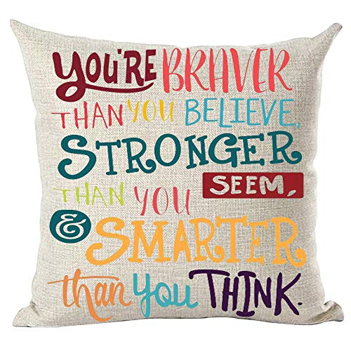 ramirar Colorful Word Art Quote You're Braver Than You Believe Stronger Smarter Inspirational Decorative Throw Pillow Cover Case Cushion Home Living Room Bed Sofa Car Cotton Linen Square 18 x 18 Inch