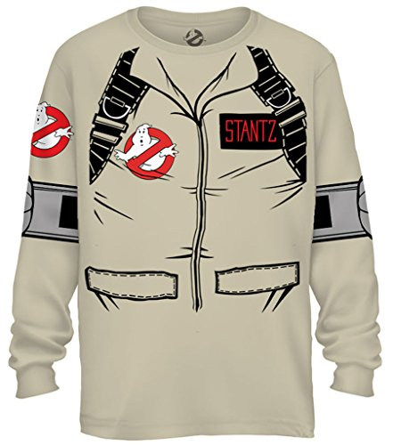 Adult Official Ghostbuster Stantz Long Sleeve Costume T-Shirt with Back Print, S to 3XL