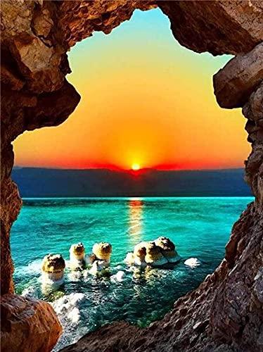 Bordado de diamantes paisaje junto al mar punto de cruz 5D DIY diamante pintura puesta de sol paisaje diamante montaña arte decoración del hogar A7 30x40cm