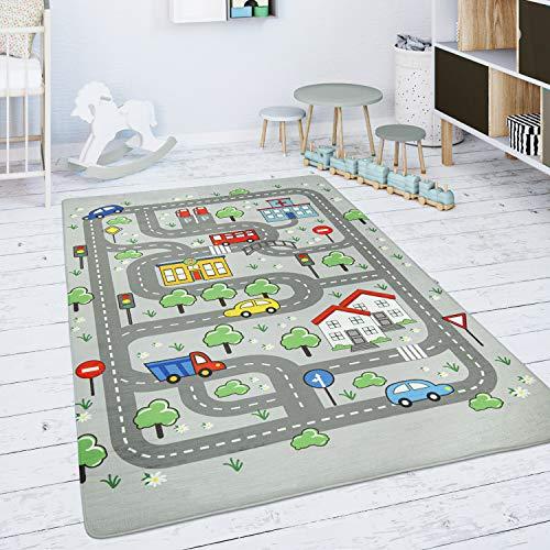Paco Home Kinderteppich Teppich Kinderzimmer Spielmatte Spielteppich Straßenteppich Grau, Grösse:155x230 cm