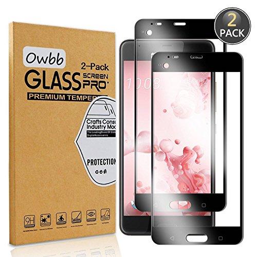 Owbb [2 Stück] Schwarz Gehärtetes Glas Bildschirm schutzfolie Für HTC U Ultra Full Coverage Schutz 99prozent High Transparent Explosionsgeschützter Film