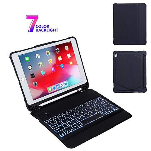 IPad Air 10.5 hoesje met toetsenbord, afneembaar 7 kleuren draadloos toetsenbord met achtergrondverlichting - iPad Pro 10.5 2017 toetsenbord, toetsenbord met achtergrondverlichting, Zwart