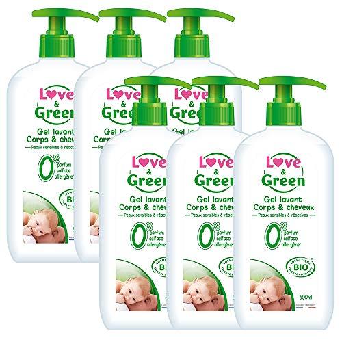 Love & Green Gel Lavant Corps/Cheveux Bio 0% 500 ml - Lot de 6