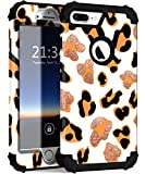 ZHK iPhone 8 Plus Case for Women, iPhone 7 Plus Case, Leopard Heavy Duty Shockproof Case for Girls Cute Bumper Armor Sturdy Hybrid Protective Cover for Apple iPhone 8 Plus/7 Plus (5.5 inch)