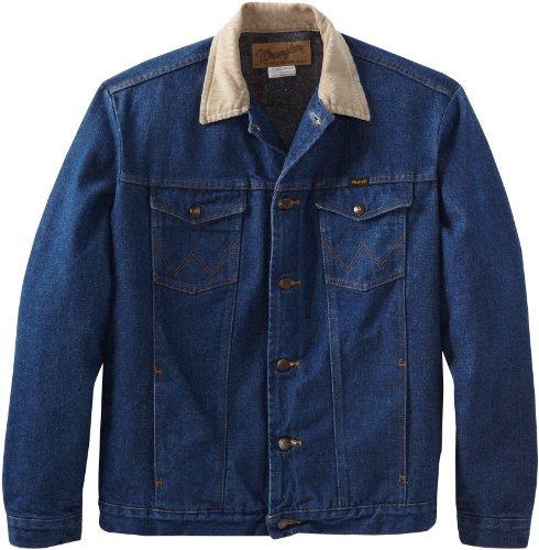 Wrangler Men's Tall And Big Blanket Lined Denim Jacket, Denim/Blaket, 46