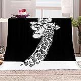 Flanelldecke Kuscheldecke Giraffe Tier Schwarzweiß Sherpa Decke 3D Gedruckt Warm Flauschige Decke TV-Decke Sofadecke Wohndecke Tagesdecke Kinderdecken 100x130cm
