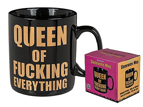 Out of the blue 78/8278 Steingut-Becher, Queen of fucking everything, Schwarz