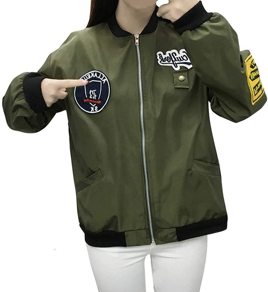 Plus Size Tops for Women,Womens Letter Print Zip Up Long Sleeve Coat Colorblock Stand Collar Casual Bomber Jacket