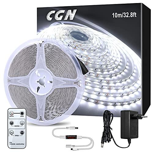 10M Striscia LED Dimmerabile, CGN Nastri LED Strisce Luminose Bianco Freddo 6000K con RF Telecomando...
