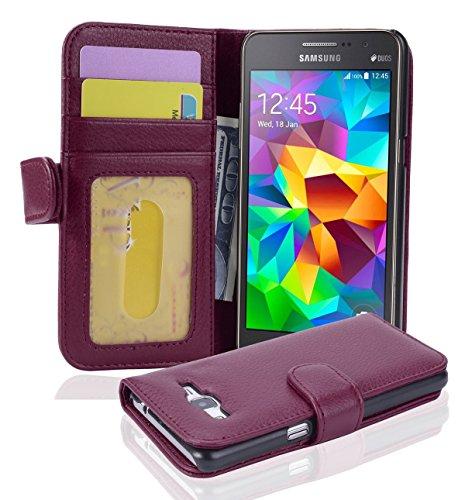 Cadorabo Hülle für Samsung Galaxy Grand Prime - Hülle in Bordeaux LILA – Handyhülle mit 3 Kartenfächern - Hülle Cover Schutzhülle Etui Tasche Book Klapp Style
