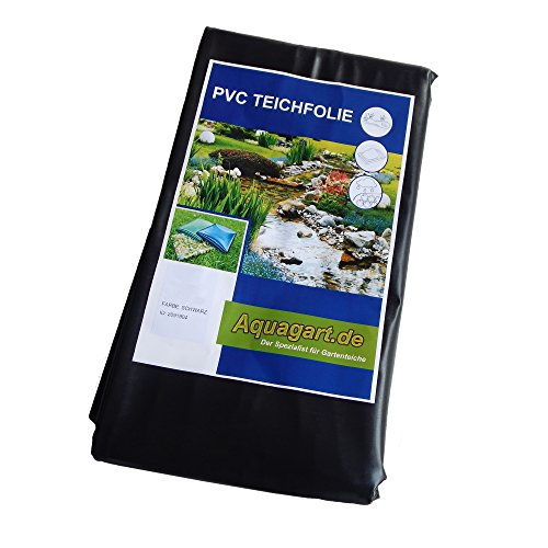 Hochwertige PVC Teichfolie 0,5mm Stärke 4m x 2m I Fisch und Pflanzenfreundlich, UV- und witterungsbeständig I Schwimmteich Folie Gartenteich schwarz I Aquagart Garten- und Teichzubehör