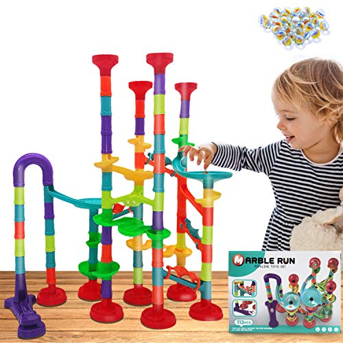 Marble Run Set,113 Pcs Marble Race Track Game for Kids,Construction Educational Building Blocks Toys,Age 3+,Gift for Boy and Girl (83 Plastic Pieces + 30 Glass Marbles)