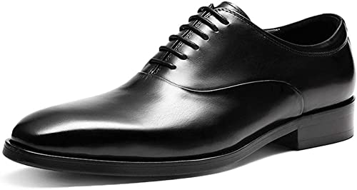 schuhe de Cuero Formal para Hombre con Cordones Oficina de Negocios Punta Estrecha Oxford Moda Casual schuhe de Vestir Planos