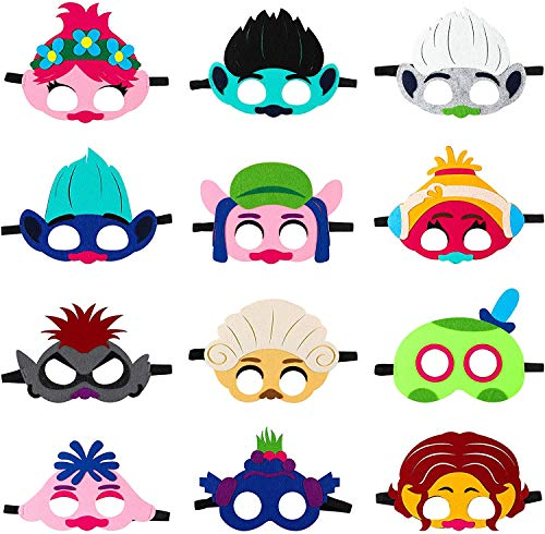 BeYumi 12Pcs Trolle Maske für Kinder, Trolle Welt Tour Filz Maske Party begünstigt Kinder Dress Up Kostüm Masken Trolle Cosplay Mohn Masken Foto Booth Props Kinder Party liefert Geburtstag sgeschenk