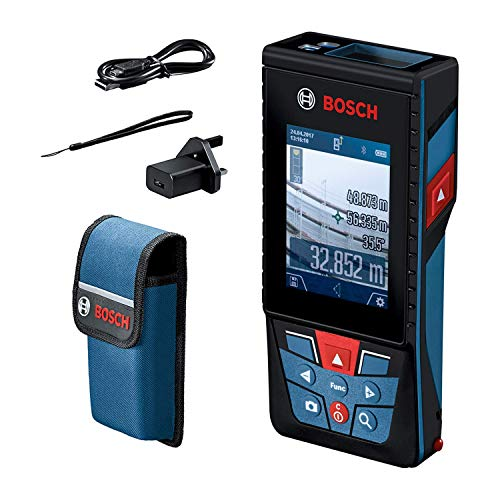 Bosch Professional 0601072F70 laser measure GLM 120 C (integrated camera, data transfer via Bluetooth, range: 0.08–120 m, carrying strap, micro USB cable and charger), 8.5 cm*22.6 cm*16.4 cm