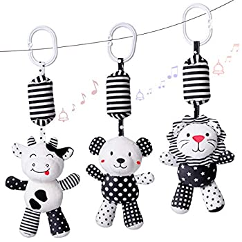 rolimate Baby Toy Cartoon Animal Stuffed Hanging Rattle Toys Baby Bed Crib Car Seat Travel Stroller Soft Plush Toys with Wind Chimes Best Birthday Gift for Newborn 0-18 Month  Lion Cow & Panda