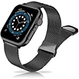 Metal Band Stainless Steel Mesh Magnetic Compatible with Apple Watch Bands 38mm 40mm 41mm 42mm 44mm 45mm, Milanese Sport Clasp Loop Women Men Compatible for iWatch Series 7/SE/6/5/4/3/2/1 Black