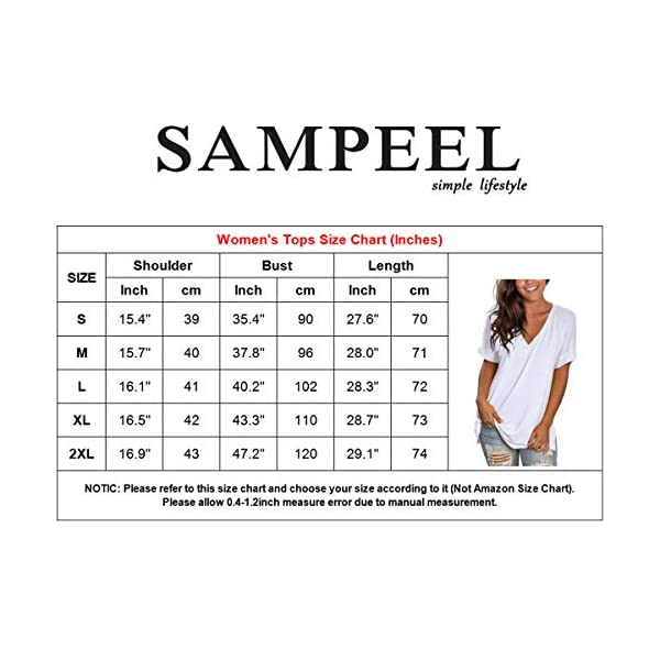 Fashion Shopping SAMPEEL Women's V Neck T Shirt Rolled Sleeve Side Split Tunic Tops