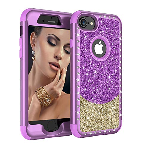 iPhone 8 Case, iPhone 7 Case, UZER Three Layer Shockproof 3D Handmade Luxury Hybrid Beauty Crystal Rhinestone Glitter Sparkle Bling Diamond Hard PC Soft Silicone Combo Case for iPhone 8 /iPhone 7 4.7""