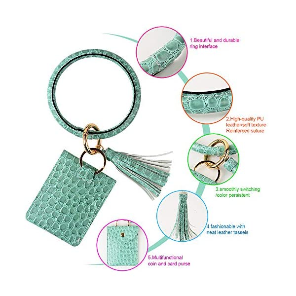 ICECORAL Wristlet Keychain Wallet Bracelet Bangle Circle Tassel Leather Keyring Purse Card Key Holder For Women