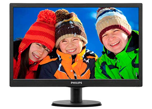 "Philips 193V5LSB2 Monitor 19"" LED, 5 ms, VGA, Attacco VESA, Nero"