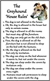 Greyhound Brindle Gift - House Rules - Large Fun flexible Fridge Magnet- size 16cms x 10 cms (approx. 6' x4')
