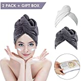 2 Pack Hair Towel Wrap Turban Microfiber Drying Bath Shower Head Towel with Buttons,Gift Package, Quick Magic Dryer, Dry Hair Hat, Wrapped Bath Cap by Duomishu