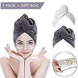 2 Pack Hair Towel Wrap Turban Microfiber Drying Bath Shower Head Towel
