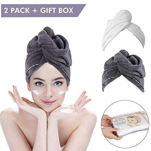 2 Pack Hair Towel Wrap Turban Microfiber Drying Bath Shower Head Towel with Buttons,Gift Box Package, Quick Magic Dryer, Dry Hair Hat, Wrapped Bath Cap By Duomishu