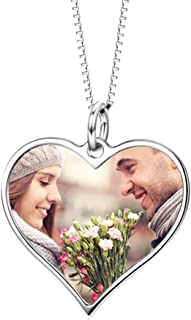 LONAGO 925 Sterling Silver Personalized Photo Necklace Engraved Heart Pendant Necklace Custom Colorful Photo with Name Necklace Gift for Women Girl