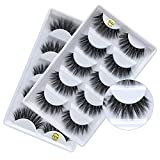 3D Real Mink False Eyelashes, Handmade Reusable Mink Lashes, Luxurious Wispy Natural Cross Thick Long Lashes, 2 Boxes/10 Pairs