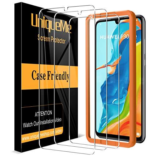 [3 Pezzi] UniqueMe Pellicola Protettiva compatibile con Huawei P30 Lite Vetro Temperato, [Easy Installation Frame] HD 9H Ultra Resistente [Bubble-Free]