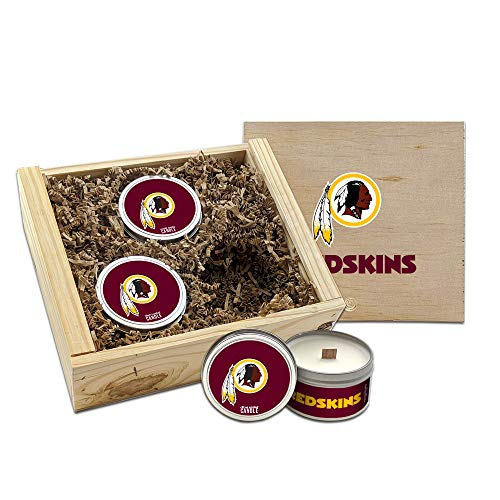 Worthy Promo Washington Redskins Gifts Scented Candles Gift Set in Handcrafted Wood Box NFL Officially Licensed