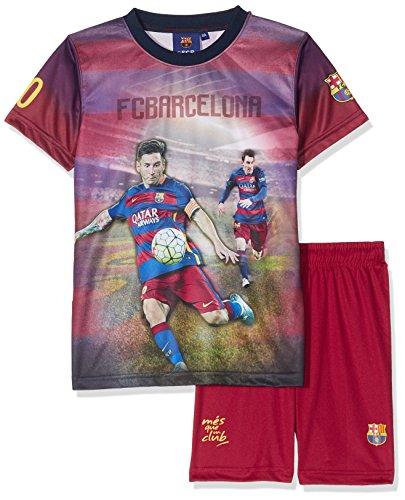 Fc Barcelona Conjunto oficial de camiseta y pantalones cortos (talla para niño), diseño de Lionel Messi