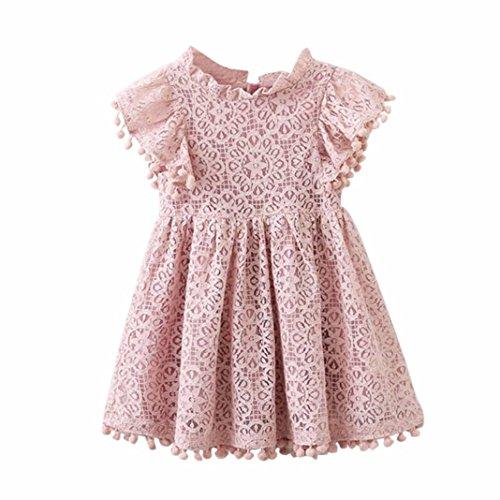 squarex Mädchen Kleid Kinder Baby Floral Print Spitze Prinzessin Hohl Kleid Kleidung
