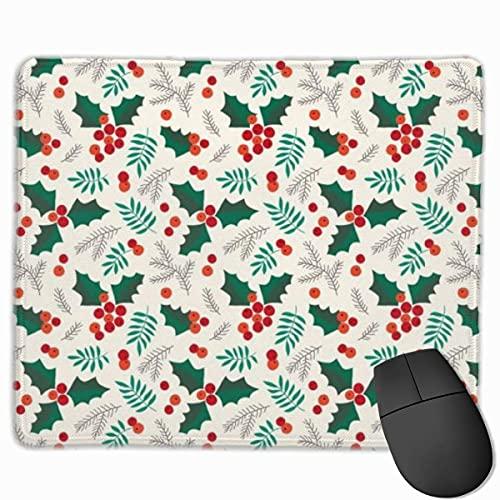 Alfombrilla de ratón Rectangular con diseño de Acebo navideño y Bayas en Crema, de Goma Antideslizante para Juegos, para Ordenador de sobremesa y portátil, 30×25 cm