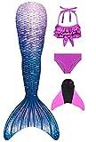Decool - Traje de baño para niña con cola de sirena. Cosplay de princesa para nadar, juego con bikini y aleta, juego de 4 piezas Ps02 120/130 cm