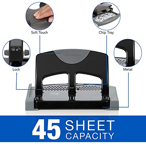 Swingline 3 Hole Punch, Desktop Hole Puncher 3 Ring, SmartTouch Metal Paper Punch, Home Office Supplies, Portable Desk Accessories, 45 Sheet Punch Capacity, Low Force, Black/Gray (74136) Photo #5