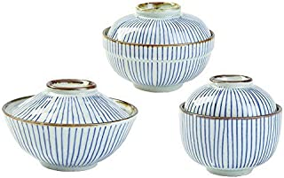 """SANFEN 3pcs Ceramic Soup Bowls Set with Lids, 5.9"""" Vintage Pottery Serving Bowls Blue Bowls in Different Size"""